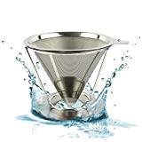 Reusable Pour Over Coffee Filter - Best Paperless Coffee Dripper with Double Layer Fine Mesh For Decanter & Brewer - Premium Pour Over Cone & Stand - Make Perfect Single Cup Coffee Every Time!
