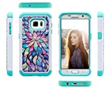 Galaxy S7 Case, S7 Case, ArtMine Flowers Prints Dual Layers (Studded Rhinestone Hard Shell & Soft Silicone TPU) High Impact Shockproof Durable Cover Case for Samsung Galaxy S7 - Teal