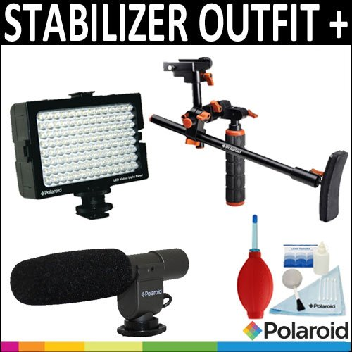 Polaroid Video Chest Stabilizer Support System + Polaroid Pro Video Condenser Shotgun Microphone + Polaroid 112 Led Video Light Panel + Accessory Kit For The Sony Alpha Nex-C3, 7, 6, 5N, 5R, 5, 3, F3, Slt-A33, A35, A37, A55, A57, A65, A77, A99, Dslr A100,