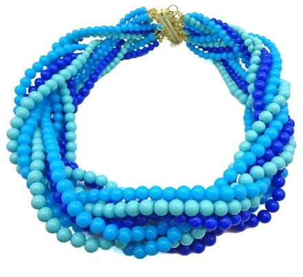 Blue Bohemian Multi Strands Braided Beads Chunky Bib Collar Necklace(wp-47)