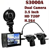 Amazon.com : ZTHY S3000A 3.5 inch LED Screen HD 720P H.264 Dual Lens Car Camera DVR Vehicle Video Recorder Cam : Electronics