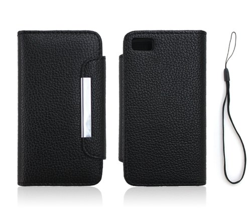 Jkase Wallet Case Cover With Credit / Business Card Holder For Blackberry Z10 - Black
