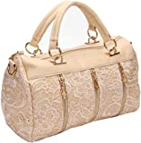 Annymall Women Designer PU Leather Tote Handbags Purses Shoulder Clutch Hobo Bag (ANDI ROSE Beige)