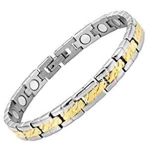 Willis Judd Womens Two Tone Titanium Magnetic Bracelet In Black Velvet Gift Box with Free Link Removal Tool
