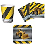 Construction Zone Birthday Party Supplies Set Plates Napkins Cups Kit for 16