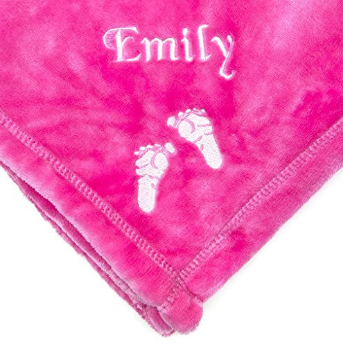 PERSONALIZED Monogrammed Embroidered BABY FEET Tahoe Fleece Blanket~ Make it Special! (Hot Pink) (Customize Blankets compare prices)