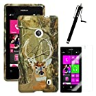 MINITURTLE, Slim Fit 2 Piece Snap On Protector Hard Phone Case Cover, Stylus Pen, and Clear Screen Protector Film 3 in 1 Accessory Combo for Windows 8 Nokia Lumia 521 (Deer Hunting Camouflage)