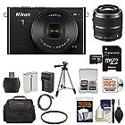 Nikon 1 J4 Digital Camera & 10-30mm PD Zoom Lens (Black) with 30-110mm Lens + 32GB Card + Case + Battery & Charger + Tripod + Kit