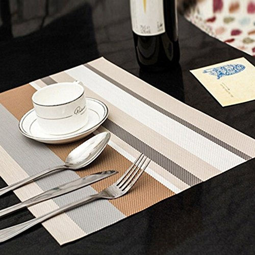 Placemats Plastic, Striped Tableware Mat Placemats PVC Dining Pad Table Insulation Pad Coasters, Placemats for Dining Table (Coffee) (Kids Dining Ware compare prices)