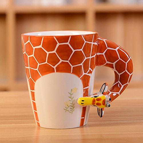 3D Pure Hand-painted Cute Animal Ceramic Coffee Mug Coffee Cup (Giraffe) by CrazySell