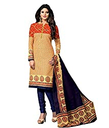 Govardhan Fashion Women's Unstitched Dress Material(H3_Beige)