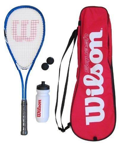 Wilson - Set composto da racchetta da squash, palline, borraccia e custodia