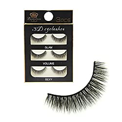 Imported Pack 3 Pairs Black Handmade Natural 3D Thick Long False Eyelashes Eye Lashes