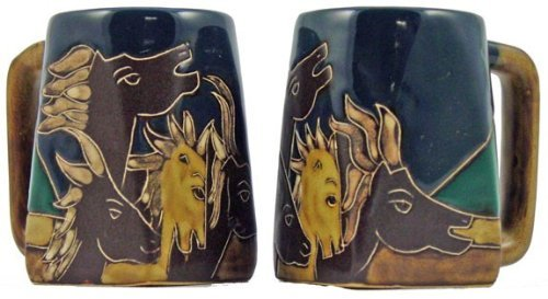 One (1) Mara Stoneware Collection - 12 Ounce Coffee Cup Collectible Square Bottom Mug - Horse Design