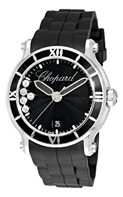 Chopard Women's 288525-3005 Happy Sport Round Black Waved Dial Watch