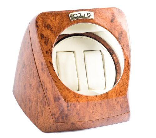 Axis Burl Dual Automatic 2 Watch Winder Rotator New