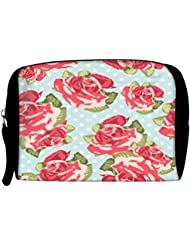 Snoogg Beautiful Seamless Rose Pattern With Blue Polka Dot Background Travel Buddy Toiletry Bag / Bag Organizer...