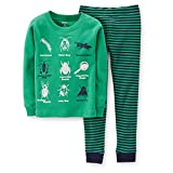Carter's Baby Little Boys Snug Fit 2 Pc Cotton Pj Green Bugs