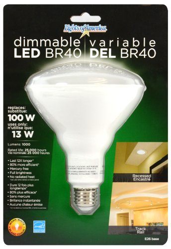 Lights Of America Conserv-Energy Dimmable Br40 Led 13 Watt Flood Light Bulb - 100 Watt Equivalent Replacement