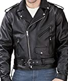 Reed® Men's Classic Leather Motorcycle Jacket by NYC Leather Factory Outlet