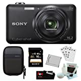 SONY Cyber-shot DSC-WX80/B Compact Zoom Digital Camera in Black + 16GB Secure Digital Memory Card + Sony Case in Black + Sony Drawstring Style Case + 25 Free Quality Photo Prints + Lithium Ion Rechargeable Battery + Enhanced Lens Cleaning Kit
