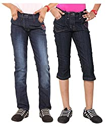 Menthol Girls Denim Pant and Denim Capri Combo (Pack of 2) (13-14 Years)