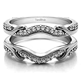 Sterling Silver Contoured Wedding Ring Jacket with Diamonds (G-H,I2-I3) (0.26 ct. tw.)