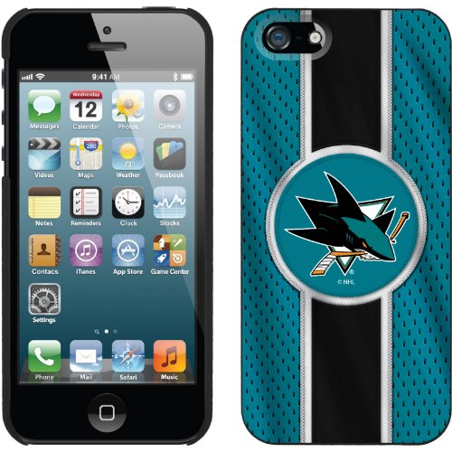 Special Sale San Jose Sharks® - Jersey Stripe design on a Black iPhone 5s / 5 Thinshield Snap-On Case by Coveroo