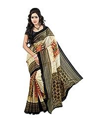Shivtex Women's Silk Saree (KANISHKA10014A, Black)