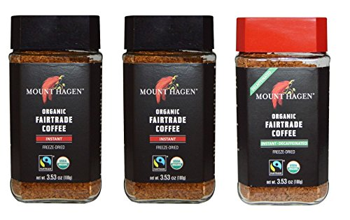 Mount Hagen Organic Freeze Dried Instant Coffee- 3.53 Oz Each ,Variety Pack ,2 Jar Regular + 1 Jar Decaff, (Pack of 3) (Instant Coffee Fair Trade compare prices)