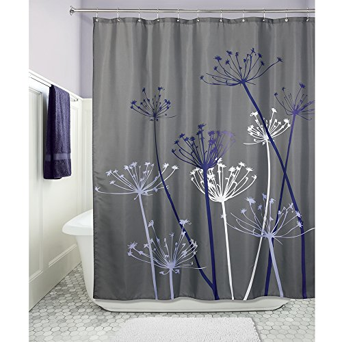 interdesign thistle fabric shower curtain 72 x 72 inch gray purple new ebay. Black Bedroom Furniture Sets. Home Design Ideas
