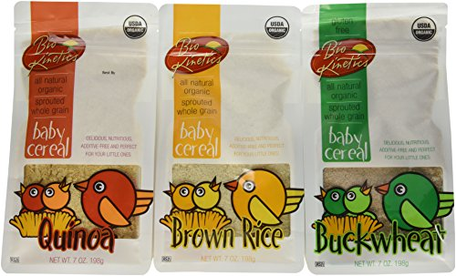 Gluten Free Organic, Sprouted Baby Cereal Assortment: Quinoa, Brown Rice, Buckwheat - 7 Oz. (198 g) Each - 3 Pack Bundle - 1