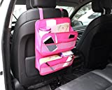 Showkoo Asiento trasero del coche Organizador protector de la cubierta y la bolsa de almacenamiento de archivos en la revista Documento Organizador bolso colgante (Rose)
