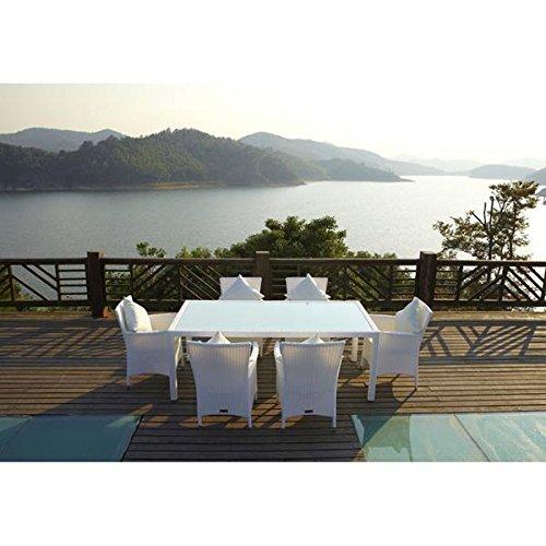 Outflexx Möbel Esstisch mit 6 Stühl Polyrattan w29 Glas innliegend, weiß