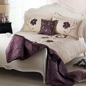 ELEGANT FLORAL DUVET COVER - Cotton Blend Embroidered Bedding Bed Set Heather ( purple aubergine cream beige ) King Size Duvet Cover ( kingsize girls )