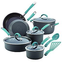 Rachael Ray Cucina 87641 12-Piece Cookware Set, Gray,Agave Blue Handles