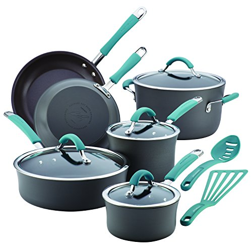 Rachael Ray Cucina 87641 12-Piece Cookware Set, Gray,Agave Blue Handles