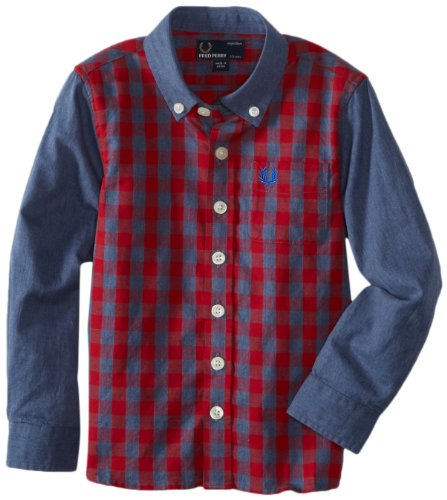 Fred Perry Boys 27 Vibrant Gingham Shirt, Blood/Navy Marl, 6/7 Picture
