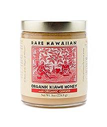 Volcano Island Honey, Organic Raw White Honey with Ginger, 8 oz