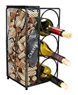Chalkboard   Write A Note, Wine Corks Saving Cage with 3 Wine Bottles Storage Rack. By Home-X