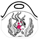 Snoogg Abstract Fairy With Red Flowers Travel Outdoor Carry Lunch Bag Picnic Tote Box Container Zip Out Removable...