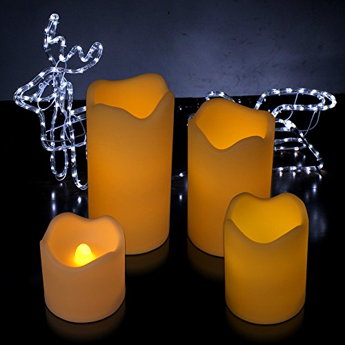 Kohree Ivory Flameless Pillar Candles With Remote And Timer-Wave Edge, Battery Operated (4)
