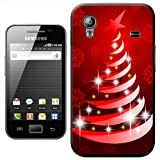 Red Modern Art Christmas Tree with Snowflake Hard Case Clip On Back Cover For Samsung Galaxy ACE S5830