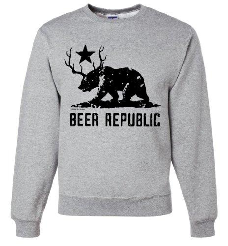 California Bear + Deer Beer Silhouette Crewneck Sweatshirt By Dsc - Ash Medium front-318224