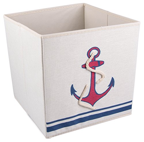 Red and Blue Mariner's Anchor Cross Collapsible Storage Box and Closet Organizer with Nautical Rope (Nautical Baskets For Storage compare prices)