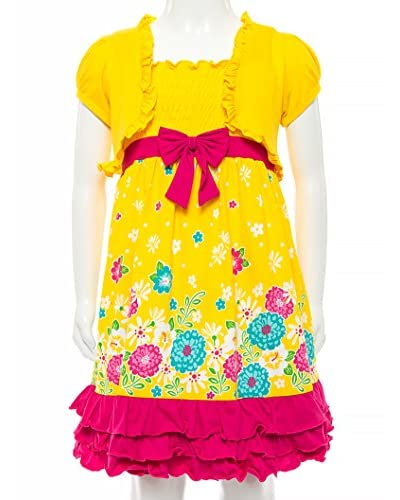 Littoe Potatoes Girl's Peonies Ruffle Dress with Shrug