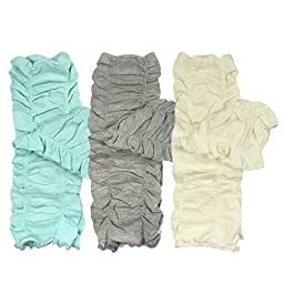 Bowbear Little Girls 3 Pair Gathered Ruffles Leg Warmers, Sky Blue, Foggy Gray, Cloudy White