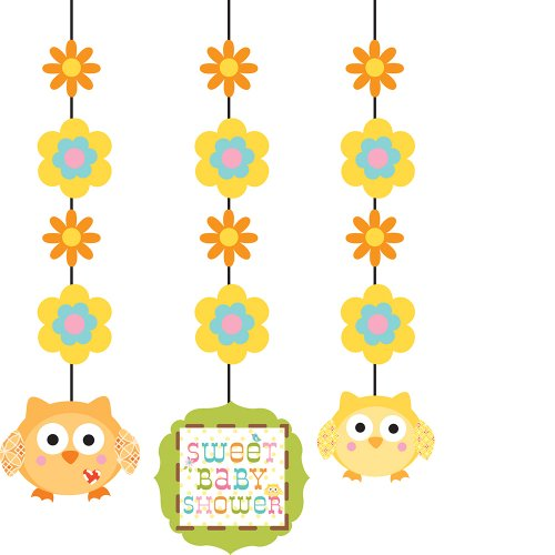 Creative Converting Happi Tree Sweet Baby Hanging Decorations, 3 Pack