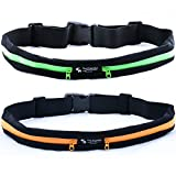 [2 PACK] Premium Running Belts - Expandable & Water Resistant Pockets - Fits Most Phones - Adjustable and Stretchable Waistband - Bounce-Free Design - Durable and Lightweight - Lifetime Warranty (Green + Orange)