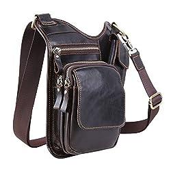 Koolertron Fashion Men's Vintage Genuine Leather Satchel Chest Bag Shoulder Bag Travel Messenger Bag